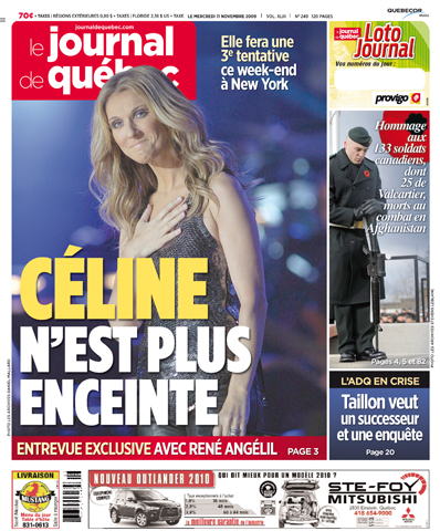 """Celine non è più incinta"", Le Journal De Quebec"
