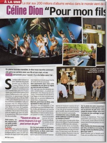 Celine sulla copertina di Tele Loisirs.